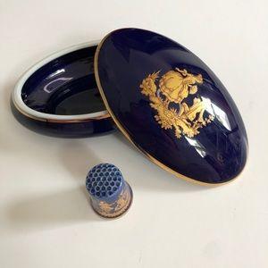 Vintage Limoges France Trinket Box Blue thimble